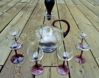 Mid-Century Purple And Clear Blown Glass Wine Decanter and Glass Set