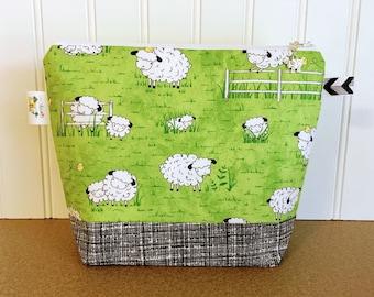 Sheep Project Bag, Knitting Project Bag, Knitting Bag, Knitting Pouch, Yarn bag, Small project bag, Knitting Tote Bag