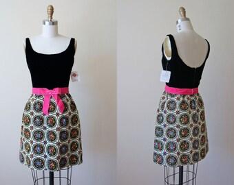 60s Dress - Vintage 1960s Dress - Black Velvet Floral Tapestry Lanz Mini Party Dress S - Fleurs Dress