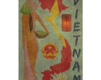 VIETNAM 1FS- Handmade Leather Journal / Sketchbook - Travel Art