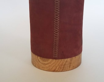 Pen Cup, Leather and Wood, Desk Accessory, Office Gift, Desk Decor