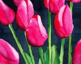 Pink Tulips Watercolor Painting, Wall Art, PRINTABLE ART