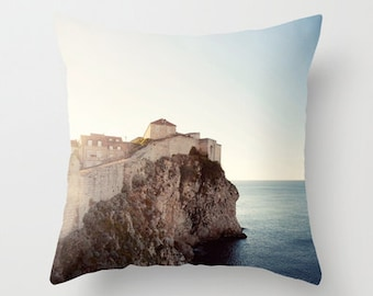 travel photography throw pillow cover , dubrovnik croatia, europe, architecture, decorative pillow cover, blue home decor