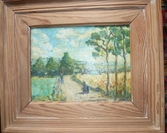 Impressionnist french oil painting framed on panel country landscape field of wheat poppies three people late 19th early 20th  home decor