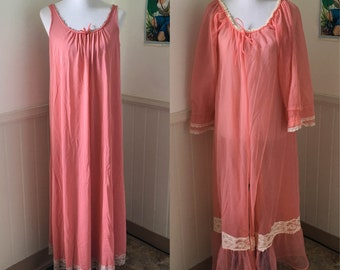 Vintage 1960's Hot Pink Princess Nightgown / Peignoir Set / Robe / Lingerie by Deena styled in California