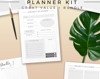 Creative Planner Bundle, Printable Planner Inserts, Productivity Organizer, Project Log, Project Planner Page, Productivity Idea Note