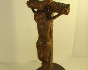 Large Wooden Crucifix Cross Vintage Self Standing Hand Carved One Piece Burl Wood Cross Relligious Art Icon Shrine Statue Family Heirloom