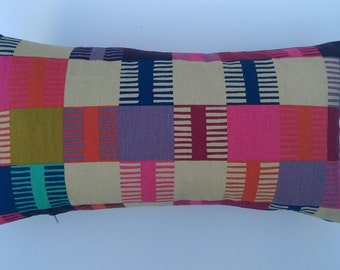 Handmade rectangular multicoloured Navajo pattern bolster cushion