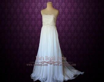 Strapless Empire Waist Chiffon Maternity Wedding Dress | Lace Wedding Dress | Grecian Wedding Dress | Hollie