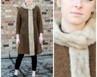 2 mink fur trim coat long boucle coat long boucle wool USA boucle coat boucle wool coat olive boucle coat olive boucle wool