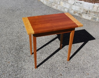 Shaker end table made from quartersawn natural cherry and birdseye maple