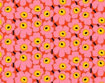 Marimekko fabric pink/red/yellow Mini Unikko 145x100cm by Maija Isola