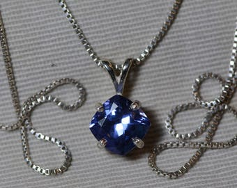 Tanzanite Necklace, Certified Tanzanite Pendant 2.45 Carats Cushion Cut, Sterling Silver, Real Genuine Natural Blue Tanzanite Jewelry
