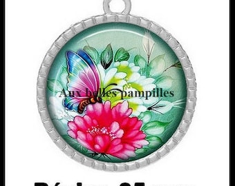 Round Cabochon 25 mm epoxy resin - beautiful Butterfly Pendant (1516) - nature, flower, floral