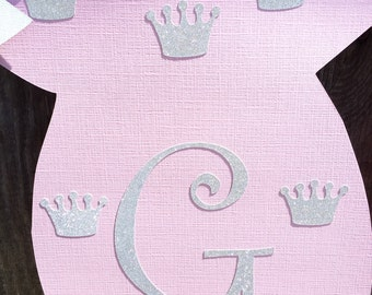 Princess Baby Shower Banner, Girl Baby Shower Banner, Baby Girl Nursery Banner, Onesie Banner, Gender Reveal Banner, Silver and Pink Shower
