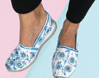 Organic cotton espadrilles painted talavera mexican, beach sandals baroque shoes, beach modern espadrilles, vegan sandals
