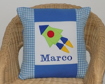 Personalised rocket cushion, nursery cushion, space rocket pillow, boys name pillow, kids bedroom decoration, playroom, bedroom, boys gift