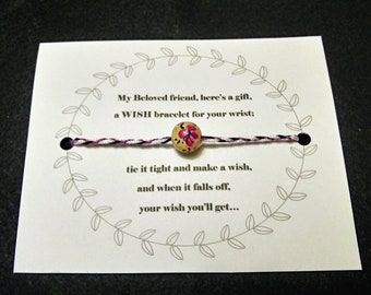 Hand Painted Hybiscus Flower Frienship Wish Bracelet!!! OOAK!!