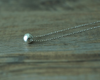 Tiny Sterling Silver Ball Necklace