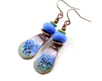 Handmade Earrings, Enameled Earrings, Periwinkle Blue Earrings, Boho Earrings, Artisan Earrings, Industrial Earrings, Small Earrings, AE228