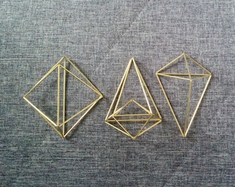 Air Plant Holder // Himmeli // Brass Air Plant // Wall Sconce // Geometric Planter // For Airplants // Set of 3