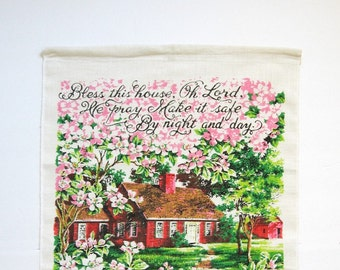 Vintage Linen Tea Towel - Pink Cherry Blossoms - Bless This House Prayer Quote Art - 1974 Calendar - Kitchen Wall Decor - DIY Sewing Project