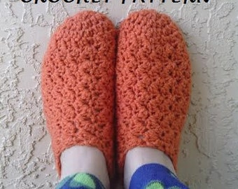 CROCHET PATTERN - Women's Slanted Shell Slippers, House Slippers Crochet Pattern, Easy Crochet Pattern, Permission to Sell Items