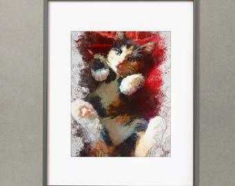 Cat watercolor modern art Digital painting print