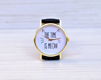 Cat|watch|Gift|for|women|Unique|Women|watches|Graduation|gift|Gift|for|her|Funny|pet|gift|Bridesmaid|gift|The time is meow