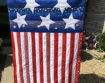 """American flag quilt Americana country primitive red white blue patriotic 40""""x 60"""""""