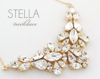 SAMPLE SALE - Statement rhinestone necklace - wedding jewelry necklace - gold wedding necklace - gold bridal necklace - Stella necklace