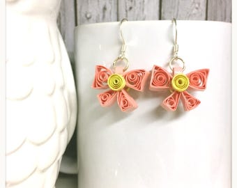 Cute Pink and yellow Bow earring, pink bow, beautiful drop earring, pink and yellow paper dangle earring, quilled paper bow jewelry, silver