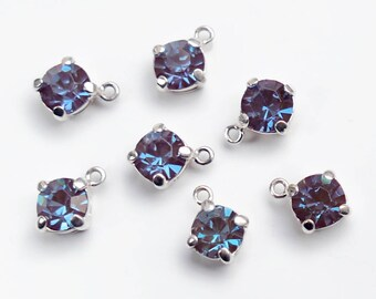 "Vintage Sappharine (""Saphiret"") 30ss facetted stones in a sterling silver setting -  11 x 9 mm - 1 piece"
