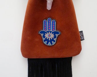 LoopyQ Cinnamon Hamsa Pouch with Black Fringe and Rose Quartz Crystal Wrap Pendant