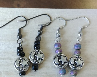 Moon and Star Earrings, Black Moon and Star Earrings, Rainbow Moon and Star Earrings
