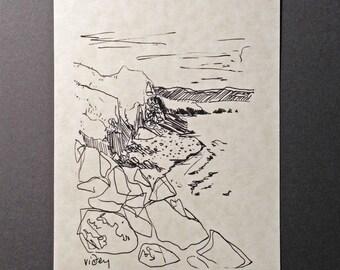 sketchbook print - Viðey near Reykjavík, Iceland 5x7 digital print