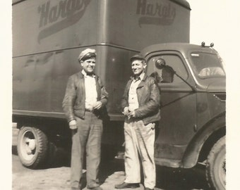"Vintage Snapshot ""Keep On Truckin'"" Hargis Trucking Truck Drivers Leather Jackets Found Vernacular Photo"