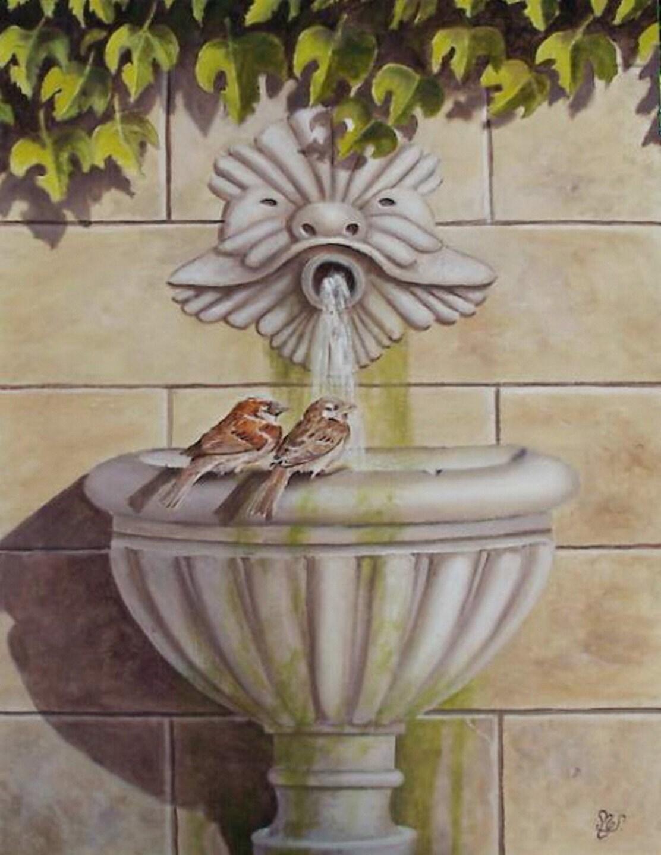 peinture trompe l 39 oeil la fontaine aux moineaux peinture. Black Bedroom Furniture Sets. Home Design Ideas