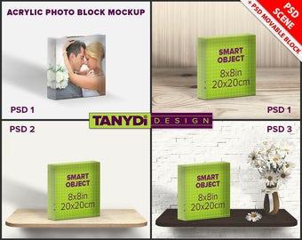 Acrylic Photo Block 8x8 PSD Styled Mockup | Blank Square Photo Block on Wood shelf