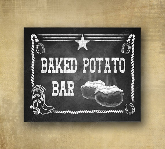 Baked Potato Bar Western style Chalkboard Sign - Chalkboard signage - 3 sizes available with optional add ons
