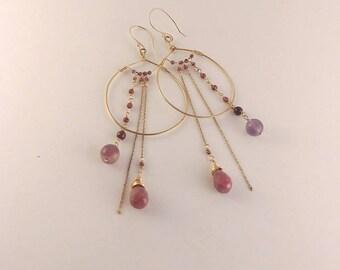 Dusty-rose Gold Hoops // Genuine Gemstones, 14k goldfill hoops and chains, Dangle Drop Crystal Earrings, Pink Red Mauve Desert Dancer