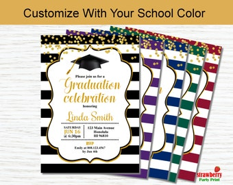Graduation Party Invitation, Graduation Invitation in Your School Color, Class Of 2018, High School College Grad, Printable Invitation G8