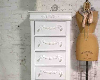 Painted Cottage Chic Shabby Romantic French Lingerie Chest /Dresser with Rose Appliques