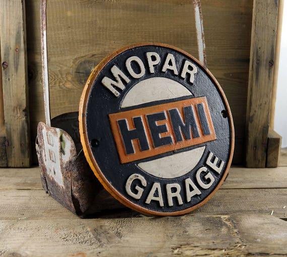 Vintage Style Mopar HEMI Cast Iron Sign Garage