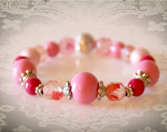 Pink Beaded Stretch Bracelet. Vintage Repurposed Jewelry. Up-cycled Bohemian Jewelry