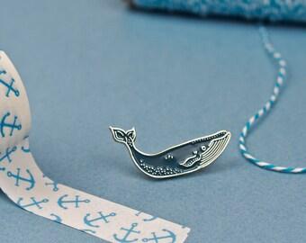 Blue Whale Pin / Cute Pin / Whale Pin / Baleine Enamel Pin / Blue Whale Pin Badge / Sea Pin / Nautical Pin / Humpback Whale Pin