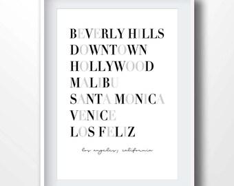 Los Angeles neighborhoods, los angeles typography print, los angeles city art, los angeles districts, los angeles wall art, california, 9030
