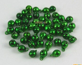 50Pcs 6mm Green Bells Jingle Bells Christmas Bells Pet Bells (Bell13)