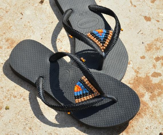 Sandals Hippie Shoes Flip Flops Tribal Black Beaded Sandals Havaianas Vegan Beaded Sandals Sandals Beach Bohemian Sandals Shoes q7wxHB6n5w