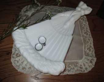 Vintage Victorian  Milk Glass Hand with Fan jewelry tray table decor
